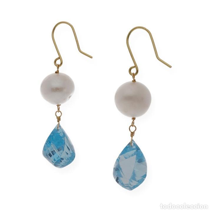 Joyeria: Pendientes Perlas y Topacio Azul en Oro de Ley 18k - Foto 2 - 116059531