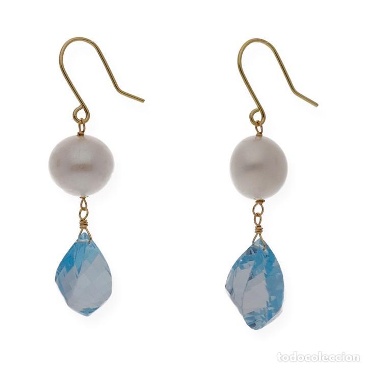 Joyeria: Pendientes Perlas y Topacio Azul en Oro de Ley 18k - Foto 3 - 116059531