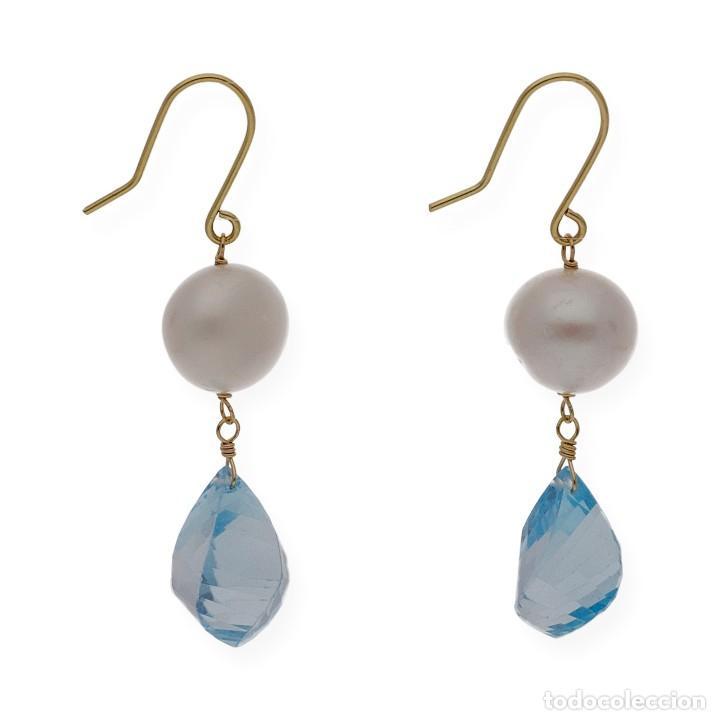 Joyeria: Pendientes Perlas y Topacio Azul en Oro de Ley 18k - Foto 4 - 116059531