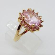 Jewelry - Sortija de corte princesa chapado en oro de 18k, con circonitas tono rosado en talla oval y diamante - 116177711