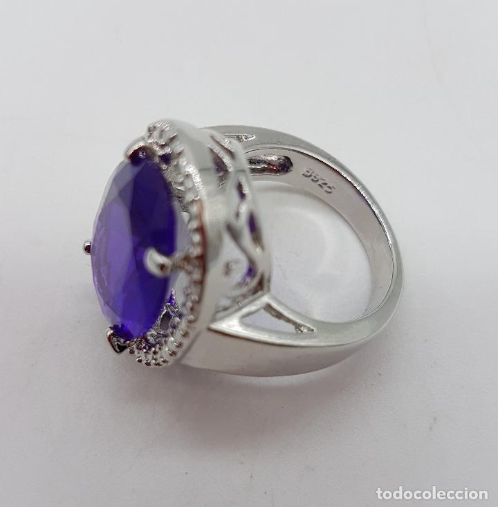 Joyeria: Gran anillo chapado en plata de ley contrastada con símil de amatista talla oval . - Foto 5 - 128017291