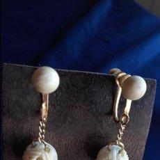 Schmuck - Pendientes años 30 bolas talladas marfil - 116616559
