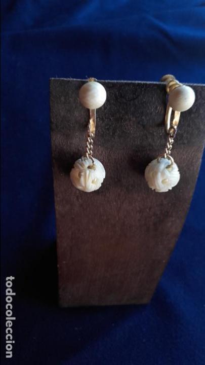 Joyeria: Pendientes años 30 bolas talladas marfil - Foto 2 - 116616559
