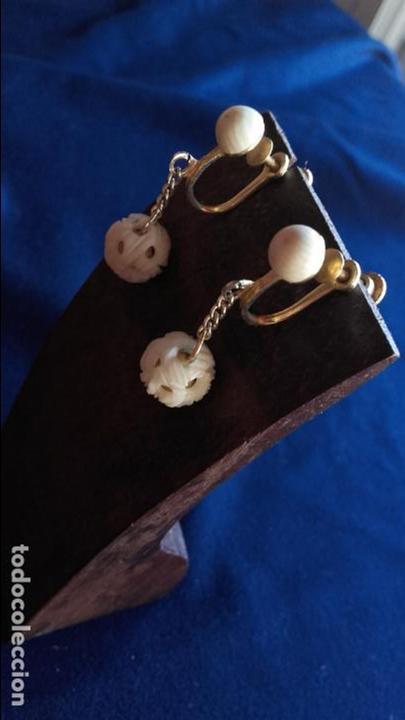 Joyeria: Pendientes años 30 bolas talladas marfil - Foto 3 - 116616559