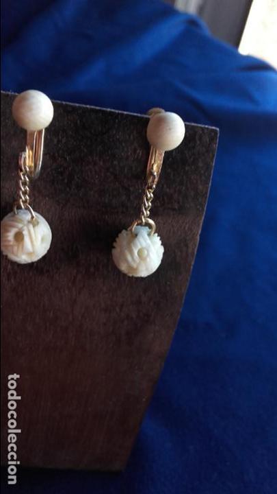 Joyeria: Pendientes años 30 bolas talladas marfil - Foto 5 - 116616559