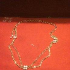 Schmuck - Antiguo collar de perlas con cadena sobredorada de bisuteria de los años 70-80 - 116630239