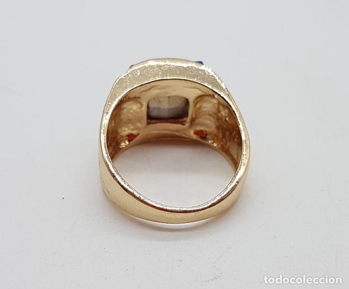 Joyeria: Gran anillo de caballero con cristal austriaco azul zafiro talla princesa y chapado en oro de 10k . - Foto 5 - 171471948