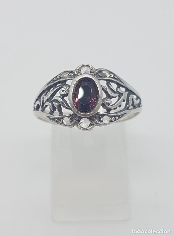 Joyeria: Sortija victoriana en plata de ley punzonada, amatista talla oval y circonitas talla brillante . - Foto 4 - 116907183