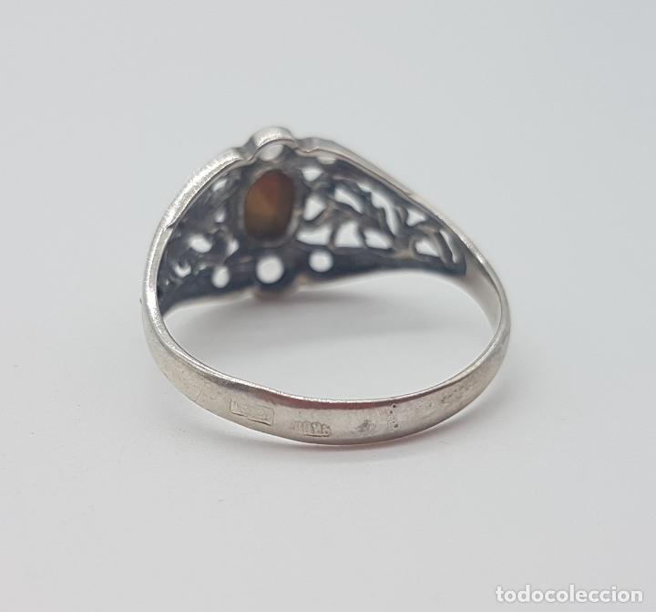 Joyeria: Sortija victoriana en plata de ley punzonada, amatista talla oval y circonitas talla brillante . - Foto 5 - 116907183