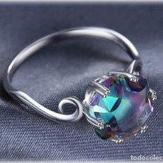 Joyeria - Exclusivo anillo de plata 925 con gran topacio místico natural de 5,7 quilates - 157768125