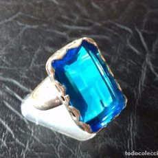 Joyeria - Anillo en sólida Plata de Ley y Topacio azul - 117013387