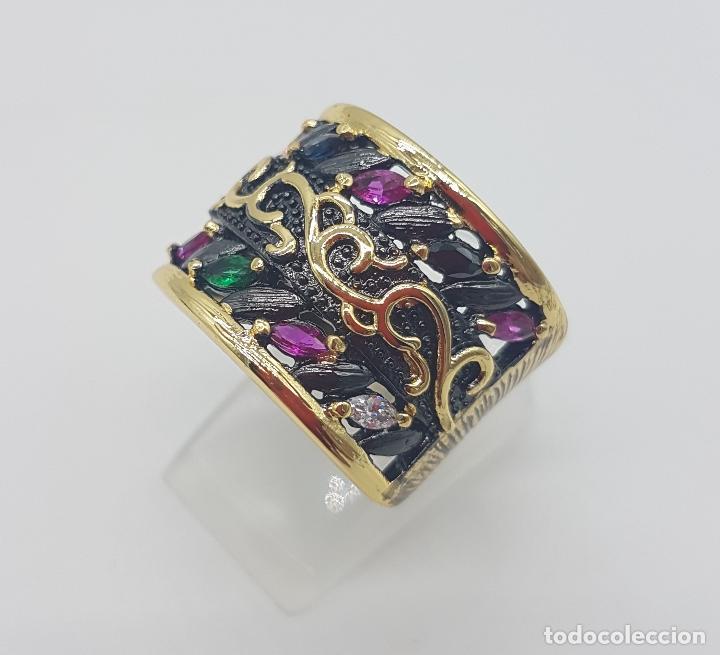 Joyeria: Original anillo de diseño gotico platinado en negro y oro de 18k con pedrería talla marqués . - Foto 2 - 147430004
