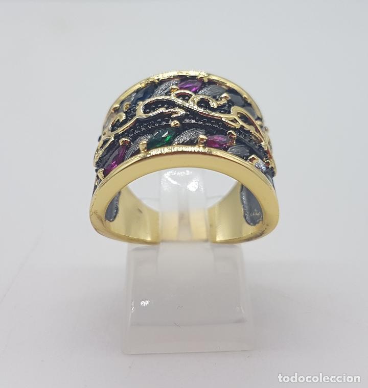 Joyeria: Original anillo de diseño gotico platinado en negro y oro de 18k con pedrería talla marqués . - Foto 3 - 147430004