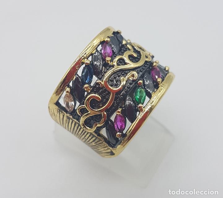 Joyeria: Original anillo de diseño gotico platinado en negro y oro de 18k con pedrería talla marqués . - Foto 4 - 147430004