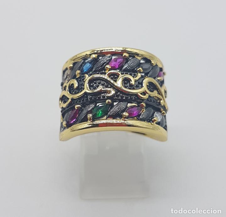 Joyeria: Original anillo de diseño gotico platinado en negro y oro de 18k con pedrería talla marqués . - Foto 5 - 147430004