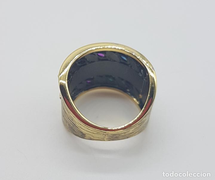Joyeria: Original anillo de diseño gotico platinado en negro y oro de 18k con pedrería talla marqués . - Foto 6 - 147430004