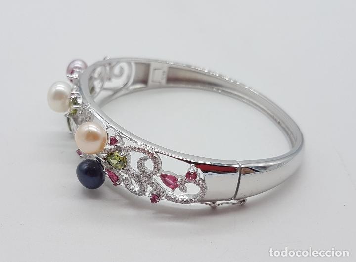 Joyeria: Espectacular brazalete estilo modernista en plata de ley, perlas, circonitas, peridotos, y topacios. - Foto 2 - 117157375