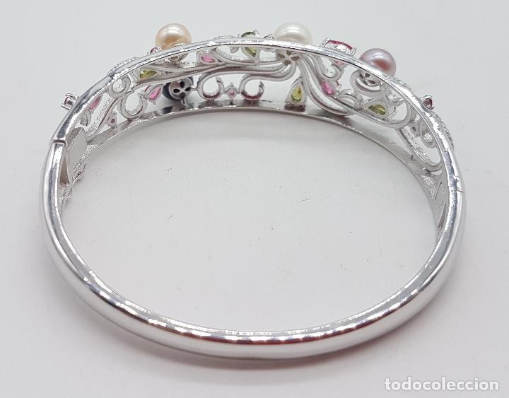 Joyeria: Espectacular brazalete estilo modernista en plata de ley, perlas, circonitas, peridotos, y topacios. - Foto 3 - 117157375