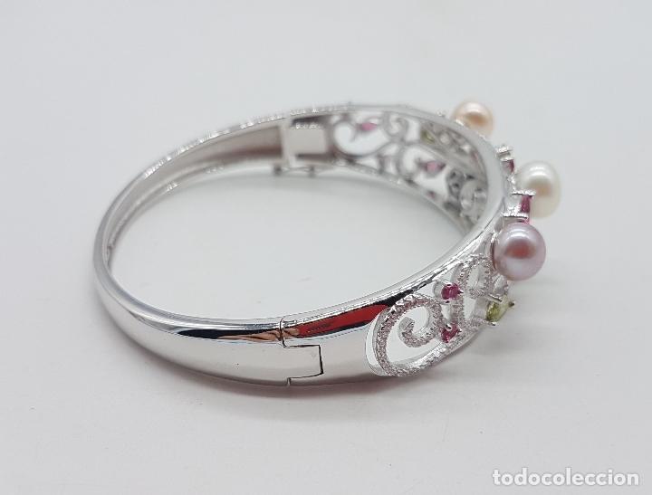 Joyeria: Espectacular brazalete estilo modernista en plata de ley, perlas, circonitas, peridotos, y topacios. - Foto 4 - 117157375