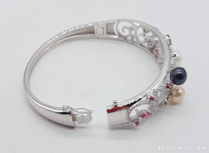 Joyeria: Espectacular brazalete estilo modernista en plata de ley, perlas, circonitas, peridotos, y topacios. - Foto 5 - 117157375