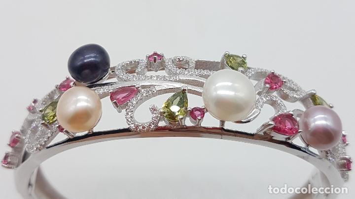 Joyeria: Espectacular brazalete estilo modernista en plata de ley, perlas, circonitas, peridotos, y topacios. - Foto 6 - 117157375