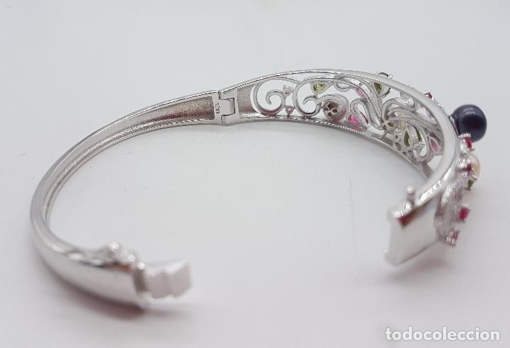 Joyeria: Espectacular brazalete estilo modernista en plata de ley, perlas, circonitas, peridotos, y topacios. - Foto 7 - 117157375