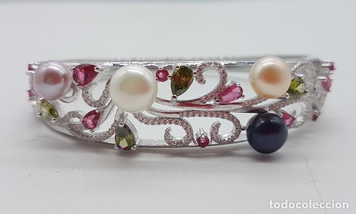 Joyeria: Espectacular brazalete estilo modernista en plata de ley, perlas, circonitas, peridotos, y topacios. - Foto 8 - 117157375