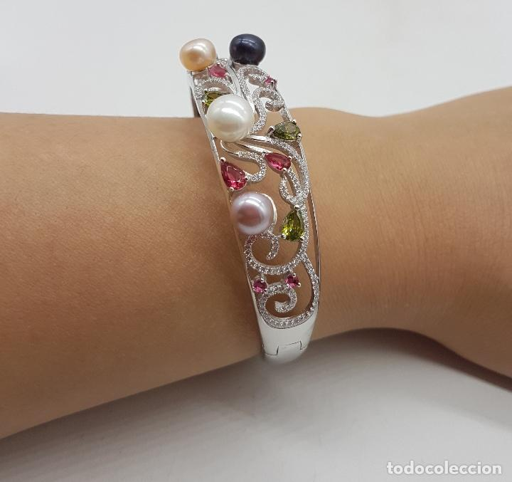 Joyeria: Espectacular brazalete estilo modernista en plata de ley, perlas, circonitas, peridotos, y topacios. - Foto 10 - 117157375