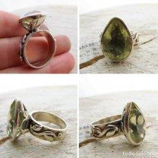 Jewelry - Anillo Plata de Ley calado Hojas con Cuarzo Citrino facetado en forma de gota - 117216263