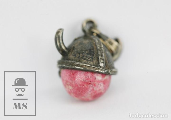 Joyeria: Colgante de Plata 925 Milésimas con Piedra Veteada Rosa - Cabeza de Vikingo - Marcas de Contraste - Foto 2 - 117525327