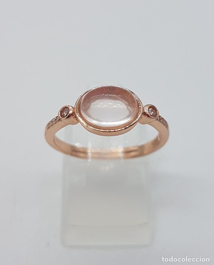 Joyeria: Magnífica sortija en plata de ley, oro de 18k, circonitas y cabujones de cuarzo rosa autentico . - Foto 5 - 138210726
