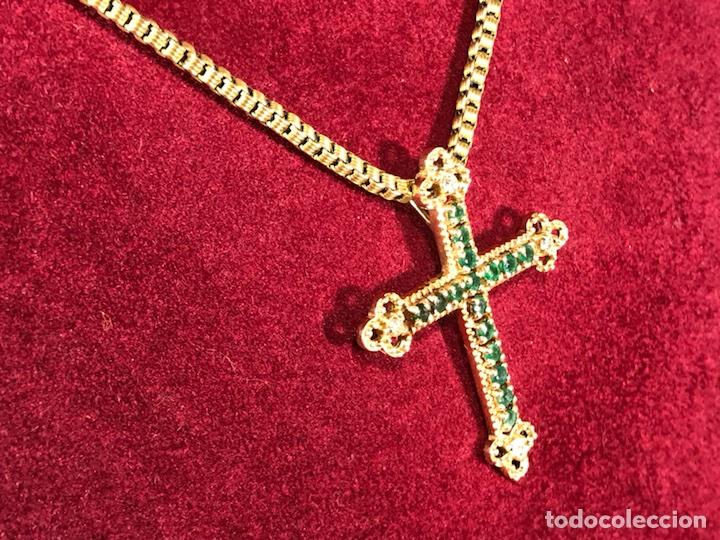 Joyeria: Cruz colgante en Oro 18k, esmeralda y Brillantes - Cadena 14k - - Foto 3 - 117919695