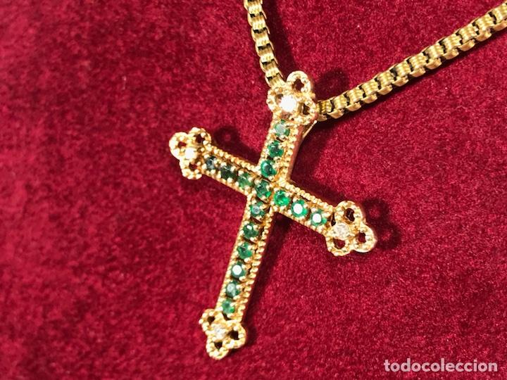 Joyeria: Cruz colgante en Oro 18k, esmeralda y Brillantes - Cadena 14k - - Foto 4 - 117919695