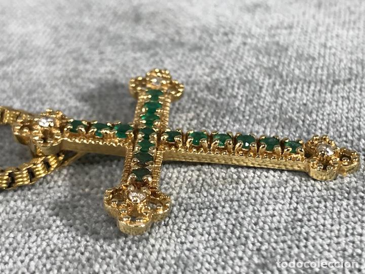 Joyeria: Cruz colgante en Oro 18k, esmeralda y Brillantes - Cadena 14k - - Foto 6 - 117919695