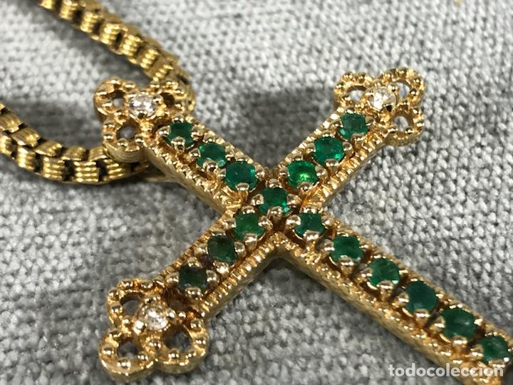 Joyeria: Cruz colgante en Oro 18k, esmeralda y Brillantes - Cadena 14k - - Foto 8 - 117919695