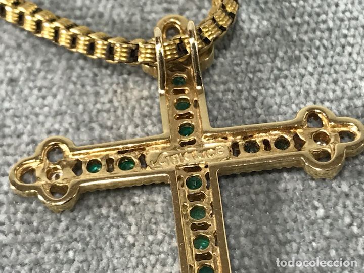 Joyeria: Cruz colgante en Oro 18k, esmeralda y Brillantes - Cadena 14k - - Foto 10 - 117919695