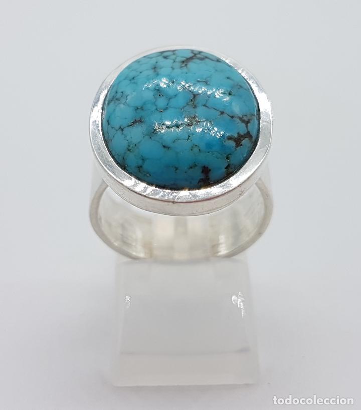 c9dc320eb70a Joyeria  Excelente anillo antiguo de plata 925 con gran cabujón ovalado de turquesa  natural.