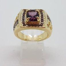 Jewelry - Gran anillo tipo sello en oro gold filled de 18k con amatistas talla oval y brillantes . - 118097699