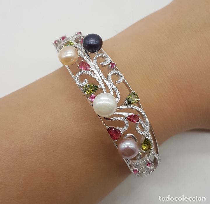 Joyeria: Espectacular brazalete estilo modernista en plata de ley, perlas, circonitas, peridotos, y topacios. - Foto 9 - 117157375