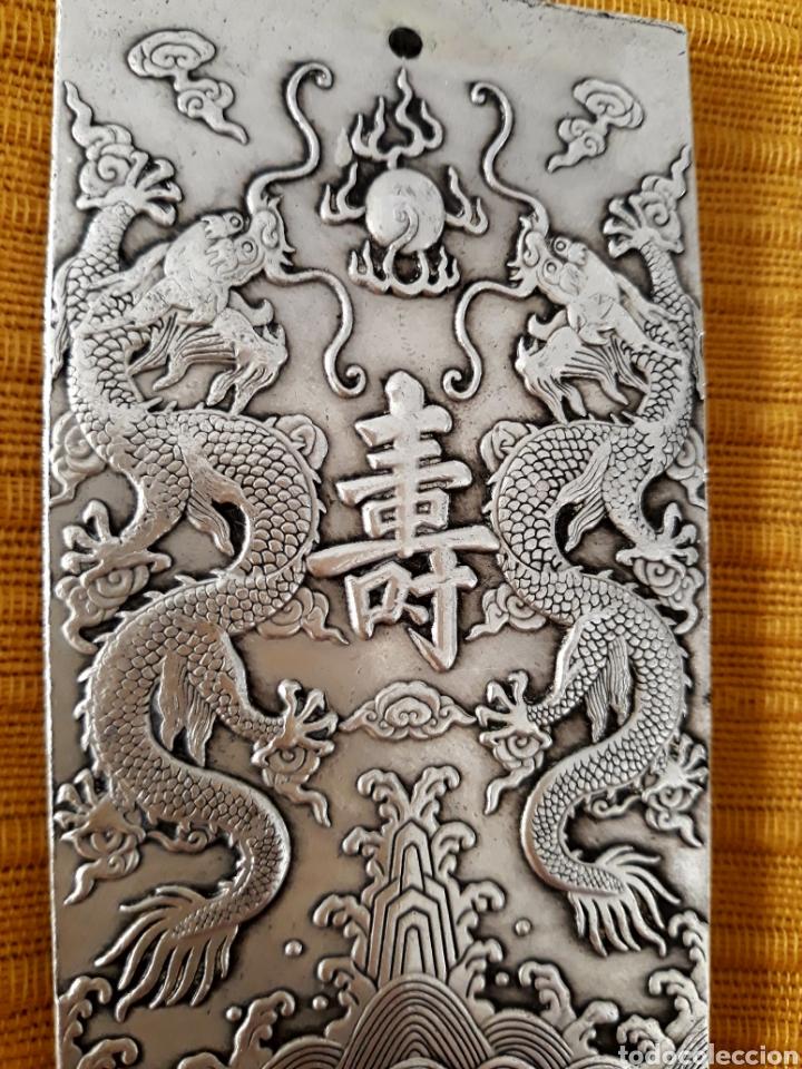 Joyeria: ANTIGUO LINGOTE PLATA TIBETANA CON DRAGONES - Foto 2 - 155774645
