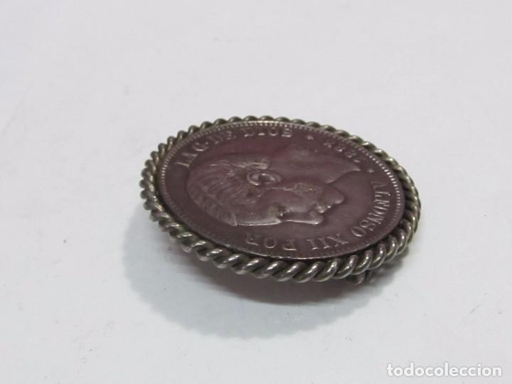 Joyeria: BROCHE DE PLATA, MONEDA 5 PESETAS DE 1885 ALFONSO XII - Foto 3 - 118365895