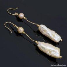 Joyeria - Pendientes largos de oro amarillo 18k perlas Biwa y perlas cultivadas - 118477787