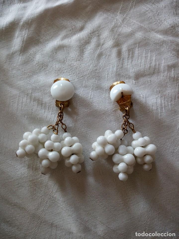Joyeria: conjunto de gargantilla y pendientes de pinza es de mineral blanco años 70 - Foto 3 - 118664831