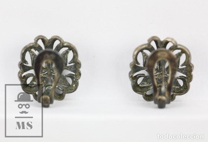 Joyeria: Antiguos Pendientes de Plata con Incrustaciones Pedrería - Mariposas Art Nouveau - Principios S. XX - Foto 2 - 118876415