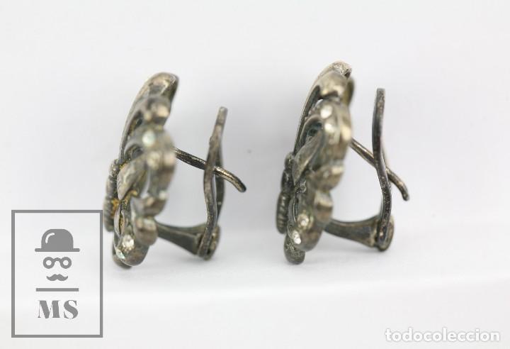 Joyeria: Antiguos Pendientes de Plata con Incrustaciones Pedrería - Mariposas Art Nouveau - Principios S. XX - Foto 7 - 118876415