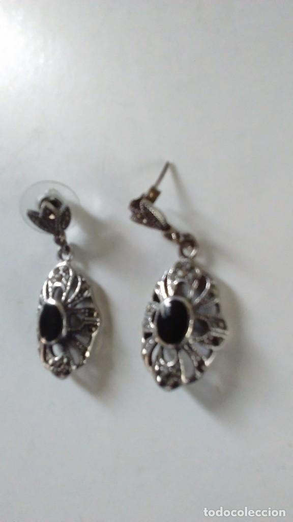 Joyeria: Pareja de pendientes largos de plata con contraste 925. Moda años 40 - Foto 4 - 118998595