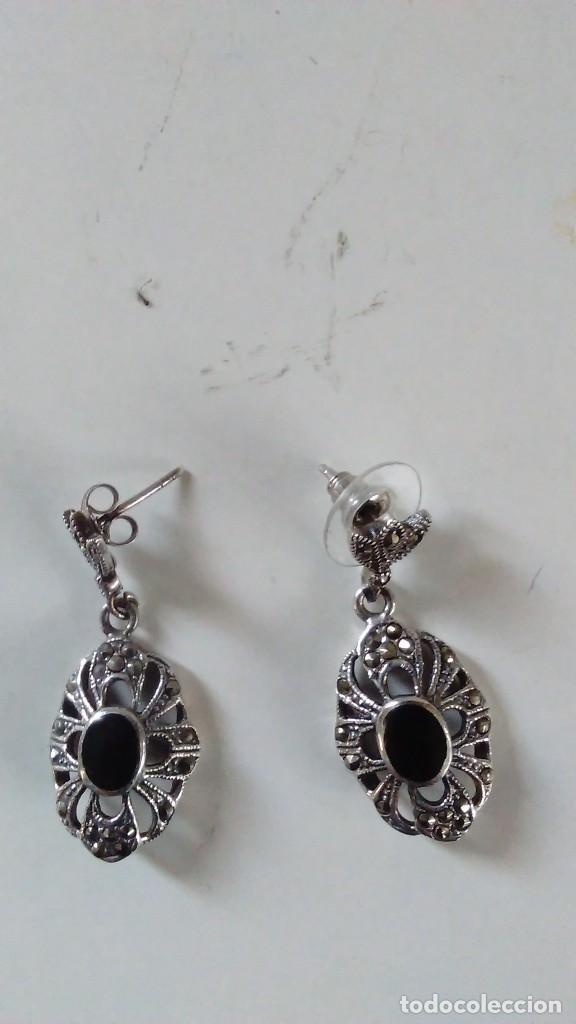Joyeria: Pareja de pendientes largos de plata con contraste 925. Moda años 40 - Foto 8 - 118998595