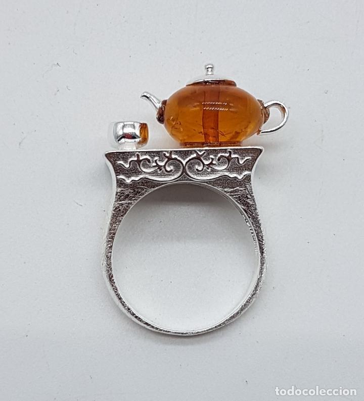 Joyeria: Original anillo en plata de ley de artesania zen oriental con tetera y taza para té, hecho a mano . - Foto 5 - 119487451