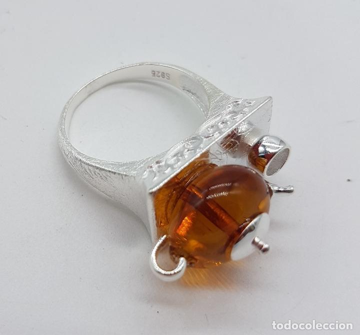 Joyeria: Original anillo en plata de ley de artesania zen oriental con tetera y taza para té, hecho a mano . - Foto 7 - 119487451