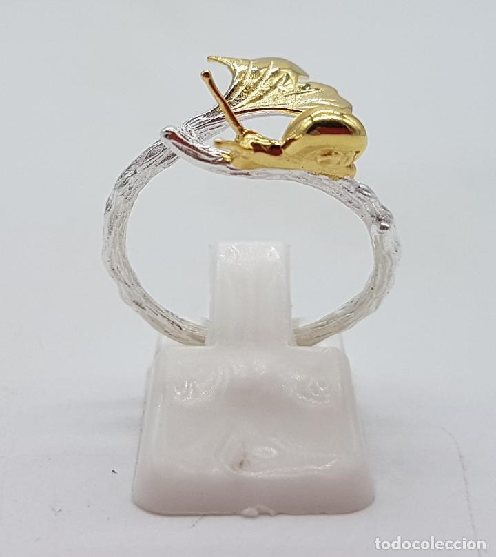 Joyeria: Sortija de diseño original en forma de rama de plata de ley con hoja y caracol en oro de ley de 18k - Foto 5 - 158637094